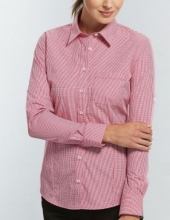 Ladies Gloweave Gingham check Hospitality Shirt Long Sleeve