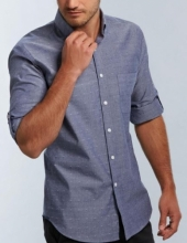 Men's Gloweave Spot Dobby Denim Shirt Long Sleeve Hospitality