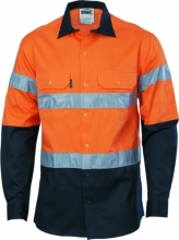 HiVis Cool-Breeze Cotton Shirt with R/Tape - Long sleeve
