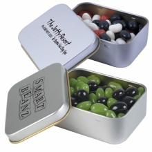 Corporate Colour Jelly Beans in Silver Rectangular Tins