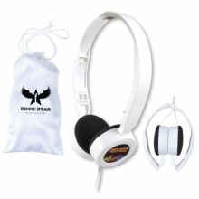 Symphony Set of Folding Headphones in White Pouch