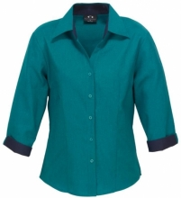 Teal/Navy Ladies Contract Oasis 3/4 Sleeve